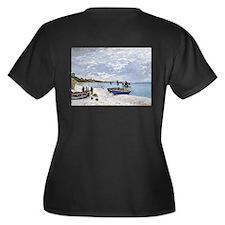 The Beach at Women's Plus Size V-Neck Dark T-Shirt