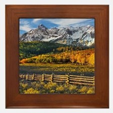 Autumn Mountain Landscape Framed Tile