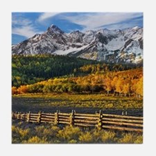 Autumn Mountain Landscape Tile Coaster