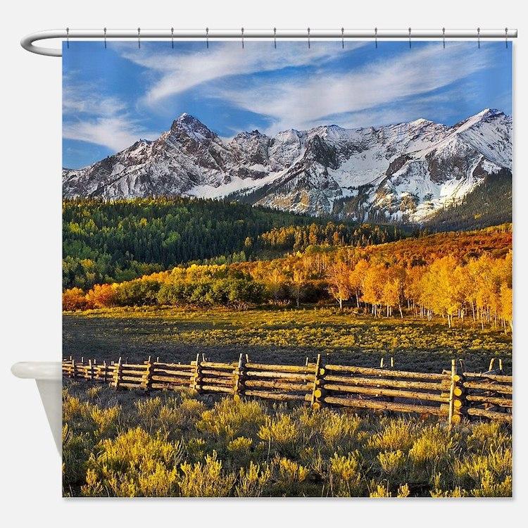 Autumn Mountain Landscape Shower Curtain