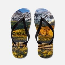 Autumn Mountain Landscape Flip Flops