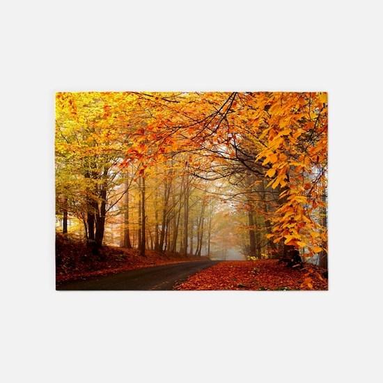 Road At Autumn 5'x7'Area Rug