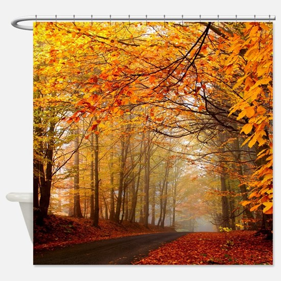 Road At Autumn Shower CurtainNature Shower Curtains   Nature Fabric Shower Curtain Liner. Extra Brown And Red Shower Curtain. Home Design Ideas
