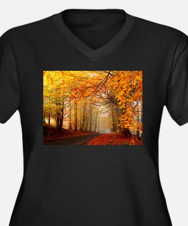 Road At Autumn Plus Size T-Shirt