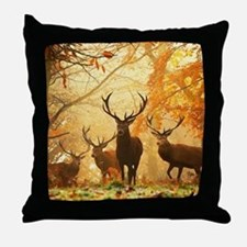 Deer In Autumn Forest Throw Pillow