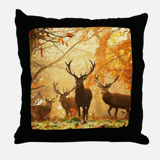 Deer In Autumn Forest Throw Pillow