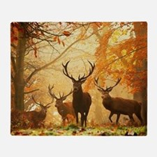 Deer In Autumn Forest Throw Blanket