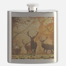 Deer In Autumn Forest Flask