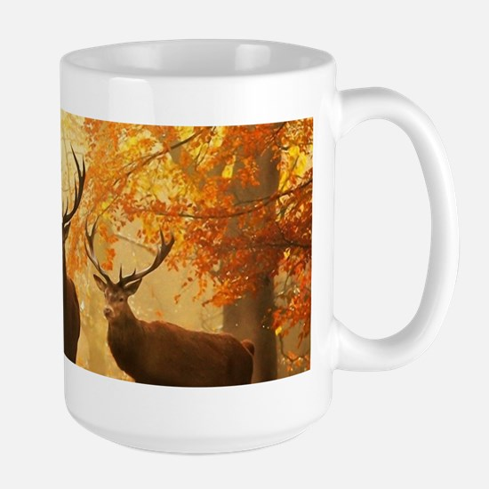 Deer In Autumn Forest Mugs