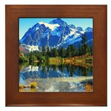 Mountain At Autumn Framed Tile