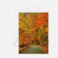 Park At Autumn Greeting Cards