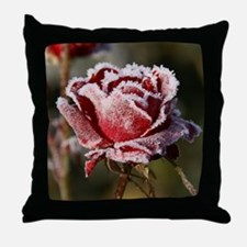 Rose With Frost On It Throw Pillow