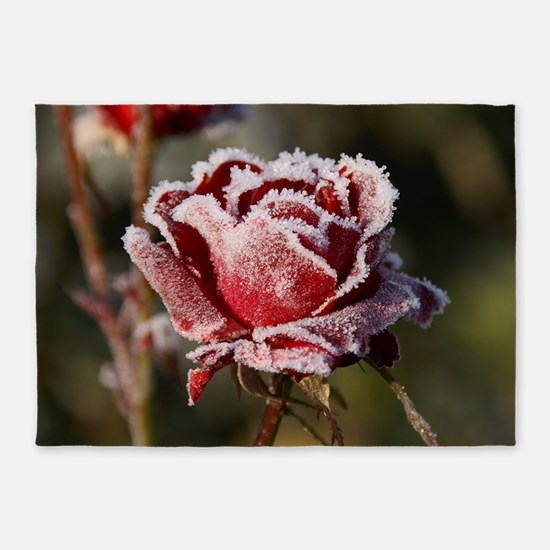 Rose With Frost On It 5'x7'Area Rug