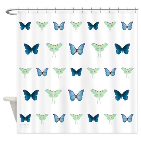 Butterflies In Blue And Green Shower Curtain By Mclaughlinwatercolor