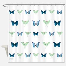butterflies in blue and green Shower Curtain