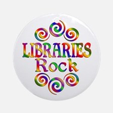 Colorful Libraries Rock Round Ornament