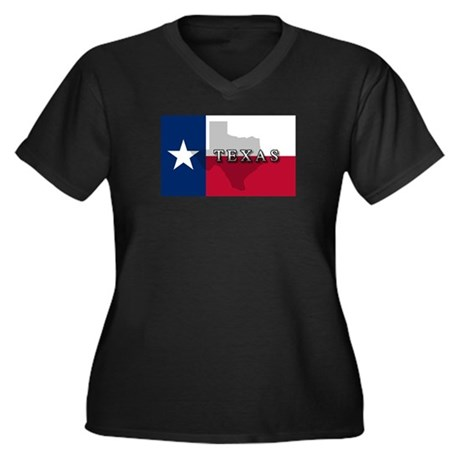Texas Flag Extra Women's Plus Size V-Neck Dark T-S
