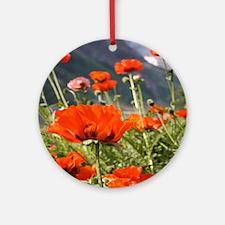 bold red poppy flower Round Ornament