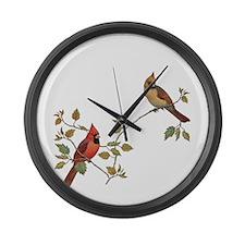 Cardinal Couple Large Wall Clock