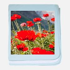 bold red poppy flower baby blanket