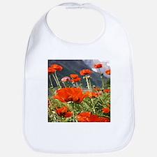 bold red poppy flower Bib
