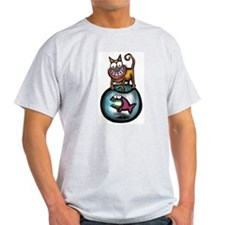 Cat Bowl Ash Grey T-Shirt