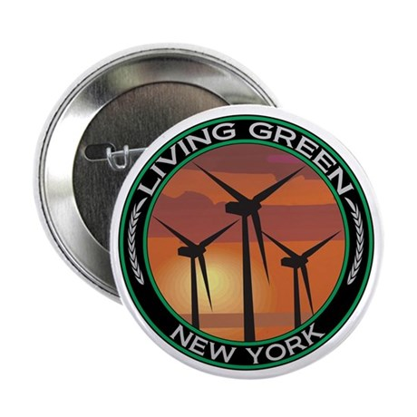 "Living Green New York Wind Power 2.25"" Button (100"