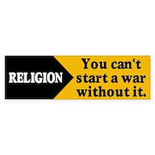 RELIGION WAR Bumper Car Sticker