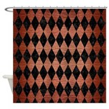 Copper and black diamond Shower Curtains