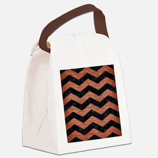 CHEVRON3 BLACK MARBLE & COPPER BR Canvas Lunch Bag