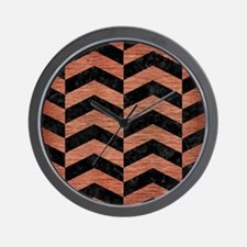 CHEVRON2 BLACK MARBLE & COPPER BRUSHED Wall Clock