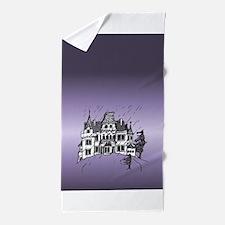Haunted House Tall Purple Beach Towel
