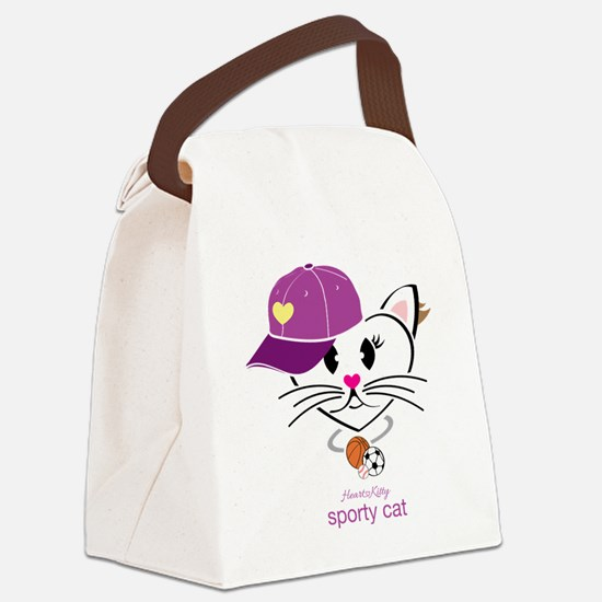 Sporty Cat Canvas Lunch Bag
