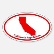 California RED STATE Oval Decal
