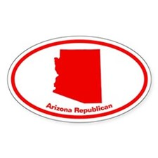 Arizona RED STATE Oval Decal