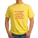 Pregnant Girl due June Belly Yellow T-Shirt
