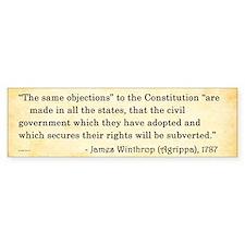 James Winthrop - Constitution - Bumper Bumper Sticker