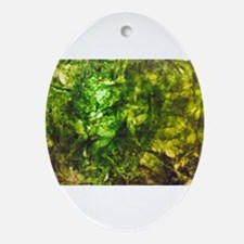 Green Textured Viola's Fave Oval Ornament