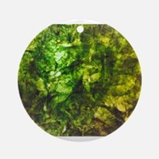 Green Textured Viola's Fave Round Ornament