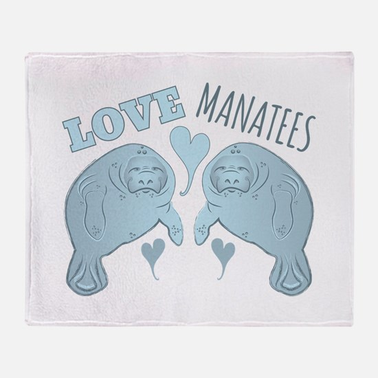 Love Manatees Throw Blanket