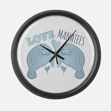 Love Manatees Large Wall Clock