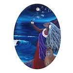 Wisdom of Moon Oval Ornament