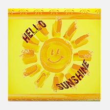 hello sunshine Tile Coaster