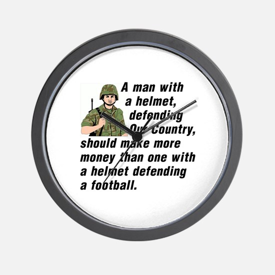 A MAN WITH A HELMET DEFENDING OUR COUNT Wall Clock