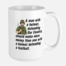 A MAN WITH A HELMET DEFENDING OUR COUNT Large Mug