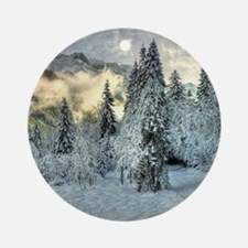 Snow In The Mountains Round Ornament
