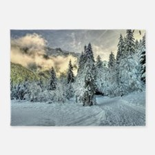 Snow In The Mountains 5'x7'Area Rug