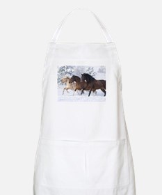 Horses Running In The Snow Apron