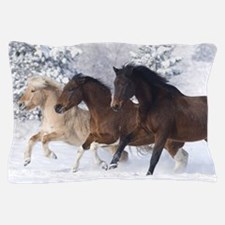 Horses Running In The Snow Pillow Case