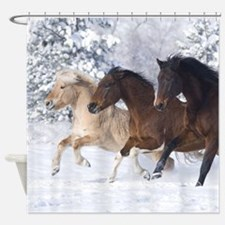 Horses Running In The Snow Shower Curtain